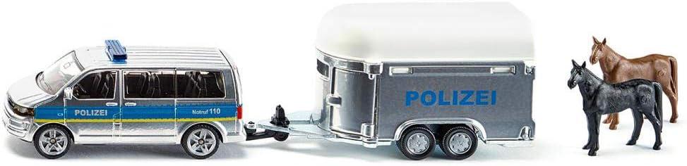 SIKU 2310 - Coche de policía con Remolque de Caballos a Escala 1:15