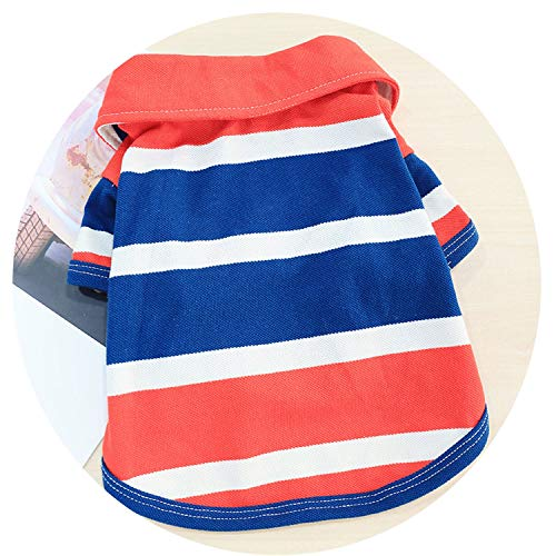 Spring Summer Pet Dog Clothes Cotton Striped Polo Vest Clothing T Shirt Dog Shirt Chihuahua Costumes for Small Dogs, L