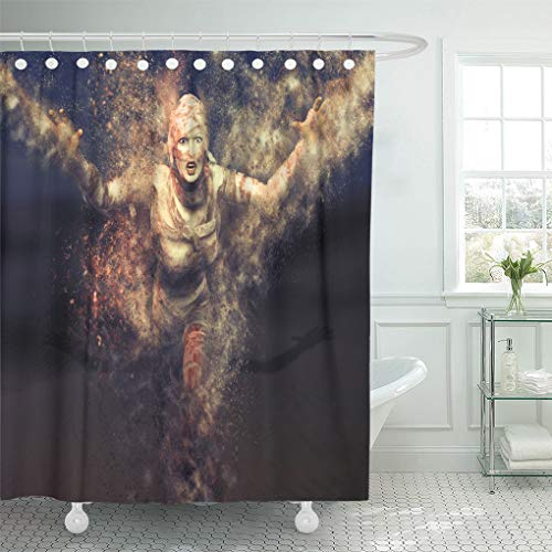 (Emvency Shower Curtain Egypt 3D Render of Female Mummy Attacking Towards The Shower Curtains Sets with Hooks 72 x 78 Inches Waterproof Polyester)