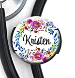 personalized stethoscope - Stethoscope Tag - Watercolor Wreath - Personalized Name - Steth ID Tag / Nurse Badge / RN / LPN / RT