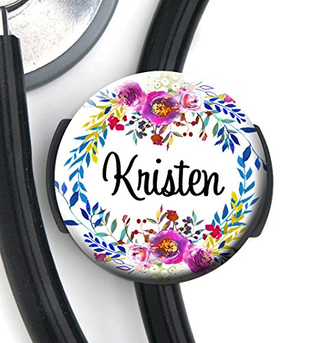 Stethoscope Tag - Watercolor Wreath - Personalized Name - Steth ID Tag/Nurse Badge/RN/LPN/RT