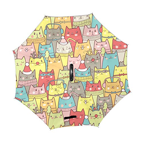 Mr.Lucien Double Layer Inverted Animal Cute Cat Deer Christmas Hat Color Umbrella Windproof Umbrella Reverse Umbrella Umbrellas for Women with UV Protection 202033