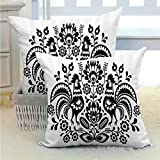 SEMZUXCVO Gallos Decor Collection Breathable Pillowcase Polish Floral Embroidery with Roosters Traditional Folk Pattern Cut Out Easter Celebration Image Soft and Breathable W24 x L24 inch Black