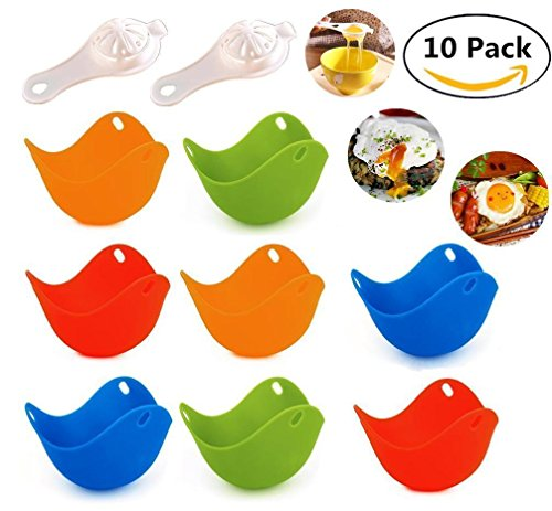 8 Egg Poacher & 2 Egg Separator for Bonus, Magnolian Silicone Non Stick Egg Poacher Cups, Microwave Stovetop Egg Cooker Perfect to Make Delicious Poached Egg in Minutes