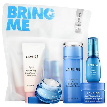 Hydrating Kit (Laneige Hydrating Kit Travel Size Set Moisturizing Foam Cleanser, Water Bank Essence, Moisture Cream, Sleeping Mask, Power Skin Toner)