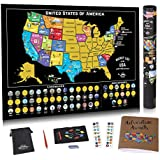 Scratch Off USA Map Poster - US Scratch Off Map of The United States w/Scratchable Map Landmarks and National Parks - Travel Journal and Adventure Stickers - Travel Map Gift by Bright Standards