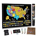 Scratch Off USA Map Poster - US Scratch Off Map of The United States w/Scratchable Map Landmarks and National Parks -Bonus Travel Journal and Adventure Stickers - Travel Map Gift by Bright Standards