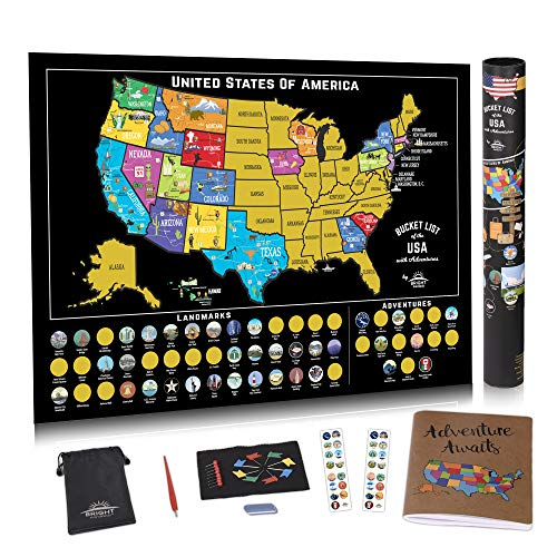 Scratch Off USA Map Poster - US Scratch Off Map of The United States w/Scratchable Map Landmarks and National Parks -Bonus Travel Journal and Adventure Stickers - Travel Map Gift by Bright Standards ()