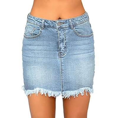 luvamia Women's Casual Mid Waisted Washed Frayed Pockets Denim Jean Short Skirt: Clothing