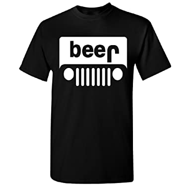 7d3372ed7 Adult Beer Jeep Funny Drinking Men's T-shirt Cool Tee | Amazon.com