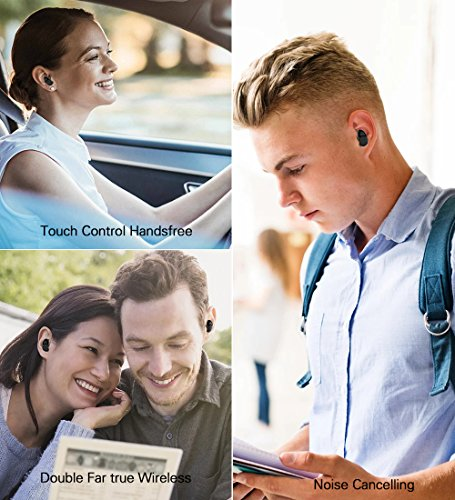 True Wireless Earbuds Langsdom X7 Mini Bluetooth 4.2 Headphones In-Ear Noise Isolating Earphones with Mic Smart Touch Control and Portable Charging Box for iPhone Samsung and More by Langsdom (Image #6)