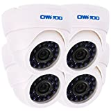 OWSOO 800TVL CCTV Security Surveillance Kit 4Indoor Camera + 460ft Cable 3.6mm 24LEDs IR-CUT Night View Plug and Play (Power Plug: 1=EU / 2=US / 3=UK / 4=AU)