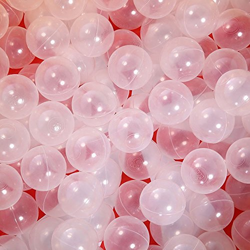 PlayMaty Ball Pit Balls - Phthalate Free BPA Free Plastic Ball Kids Swim Pit Fun Toys 100 Pieces Balls for Toddlers and Baby Playhouse Pool Birthday Party Decoration (100 Balls Transparent) -