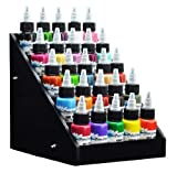 Beauticom Black Acrylic Tattoo Ink Small Display Stand 6-tier Rack Organizer Table Counter (Dimension Size: 8.5'' Length x 9.25'' Width x 7.75'' Height)