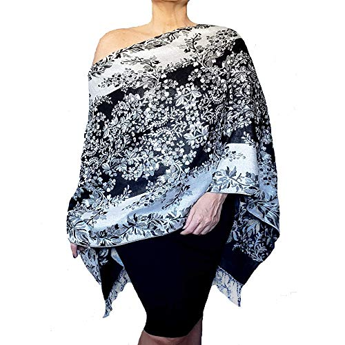 Plus Size Metallic Silver Wrap Black and White Evening Shawl Floral Stole by ZiiCi ()