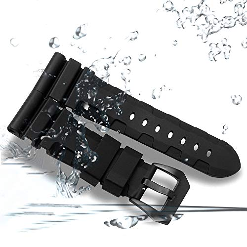 24mm Rubber Diver Replacement Watch Band PVD Buckle fit for Men Panerai Luminor Radiomir 42mm by Windam (Image #6)