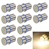 Aucan Super Bright 1156 1141 1003 1073 BA15S 7506 S25 P21W 50-SMD 3014 LED Replacement Light Bulbs for RV Indoor Lights Warm White (pack of 10)