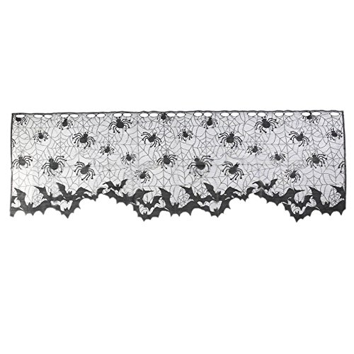 Corcrest - 1 Pcs Halloween Decoration Lovely Lace Spiderweb Fireplace Mantle Scarf Cover Curtains Shades Festive Party Supplies [A1]