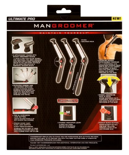 MANGROOMER Ultimate Pro Back Shaver With 2 Shock Absorber Flex Heads Power Hinge Extreme Reach Handle And Power Burst