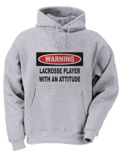 Warning: Lacrosse Player with an attitude Youth Hooded Sweatshirt (for Kids) ASH GREY LARGE ()