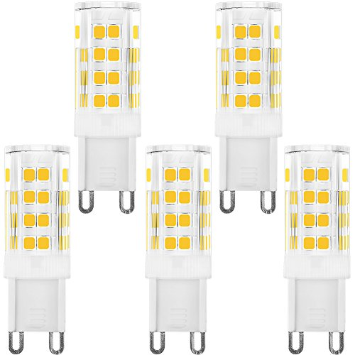 4w White Led (KINDEEP Dimmable G9 LED Bulb 40W Equivalent, AC 120V 4W, Warm White 3000K, 360 Degree Beam Angle, Pack of 5)