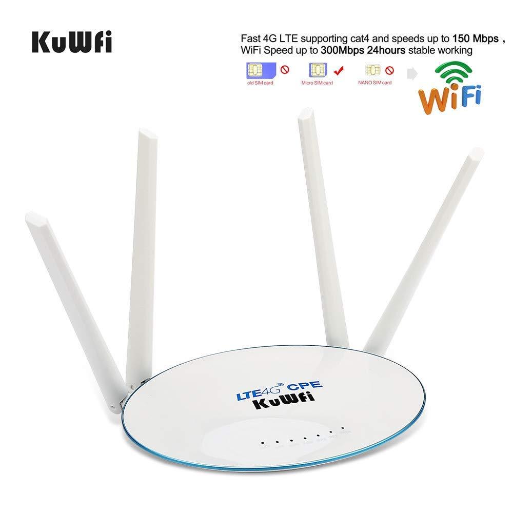 Routeur CPE 4G LTE d/éverrouill/é /à 300Mbps avec Fente pour Carte SIM avec avec 4pcs Puissant Antenne WiFi Non d/étachable Cat4 150Mbps WiFi Partager 32 utilisateurs KuWFi Routeur 4G LTE Wi-FI