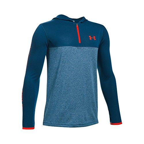 Under Armour Kids Boy's Threadborne 1/4 Zip Hoodie (Big Kids) Blackout Navy/Blackout Navy Sweatshirt