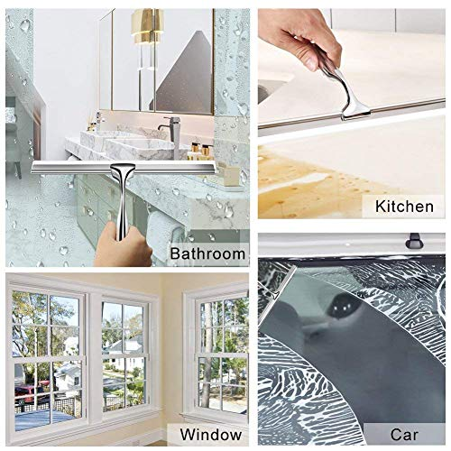 Wiper with Suction Hook, Elevin(TM) Stainless Steel Window Glass Wiper Cleaner Squeegee Shower Bathroom Mirror Brush ()