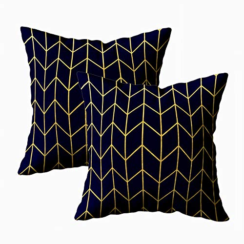 EMMTEEY Holiday Pillow Covers, 18x18 Pack 2 Pillow Covers Home Throw Pillow Covers for Sofa Yellow Gold Chevron Navy Blue Modern Chic Square Double Sided Printing (Foil 1 Gold Cover)