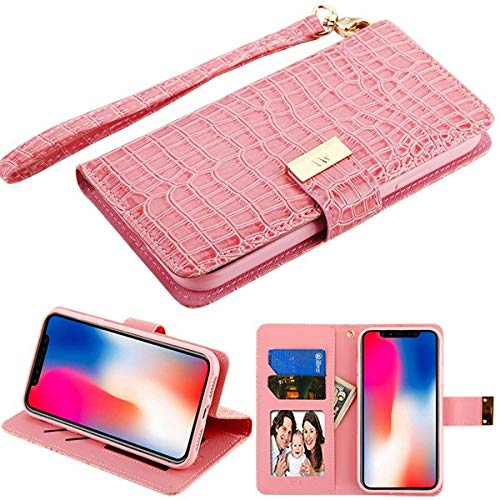 PU Leather Purse Clutch Case Fits Apple iPhone XR / 9 MYBAT Pink Crocodile-Embossed MyJacket ()