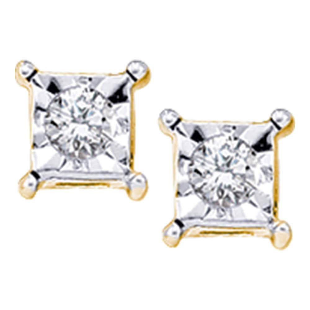 Diamond Solitaire Stud Earrings 1//20ct 10k Yellow Gold