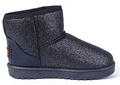 AgeeMi Shoes Mujeres Nieve Invierno Lentejuelas Bota Zapatos Clásicas Botines Violeta