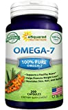 Purified Omega 7 Fatty Acids - 200 Capsules - Natural Sea Buckthorn Seed Oil, XL Vitamin Supplement, No Fish Burp, Omega-7 Palmitoleic Acid, Compare to Omega 3 6 9 for Complete Weight Loss Results!