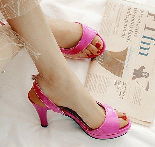 Sexy Rouge Bal Fille Haut Femme Talon 8cm Transparent D'orsay Sandales Aisun A5qv6w