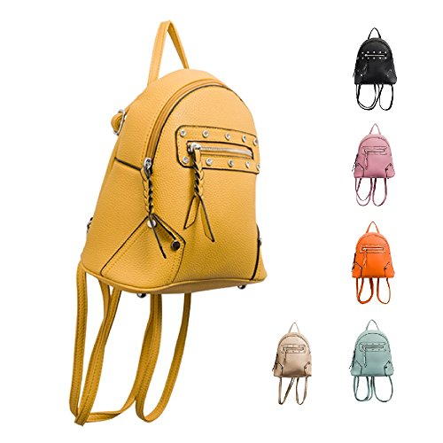 amp; Leather Ladies Studded Yellow Womens Faux Handbag Girls Bag Kt2191 Zip Rucksack Backpack School 560SqZaxw