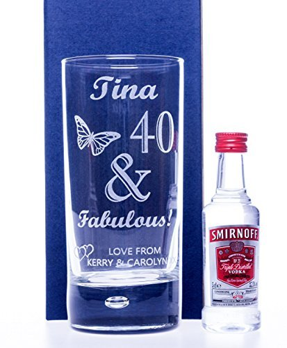 Engraved/Personalised FABULOUS BIRTHDAY Highball Glass & SMIRNOFF VODKA Miniature Gift For Girls/Women/18th/21st/30th/40th/50th/60th/65th/Wife/Girlfriend Cr8 A Gift