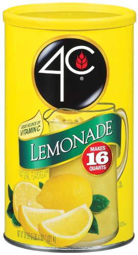 4C Lemonade Drink Mix, Sweetened with Sugar, (16-Quarts) 36-Ounce Cans (Pack of 3)