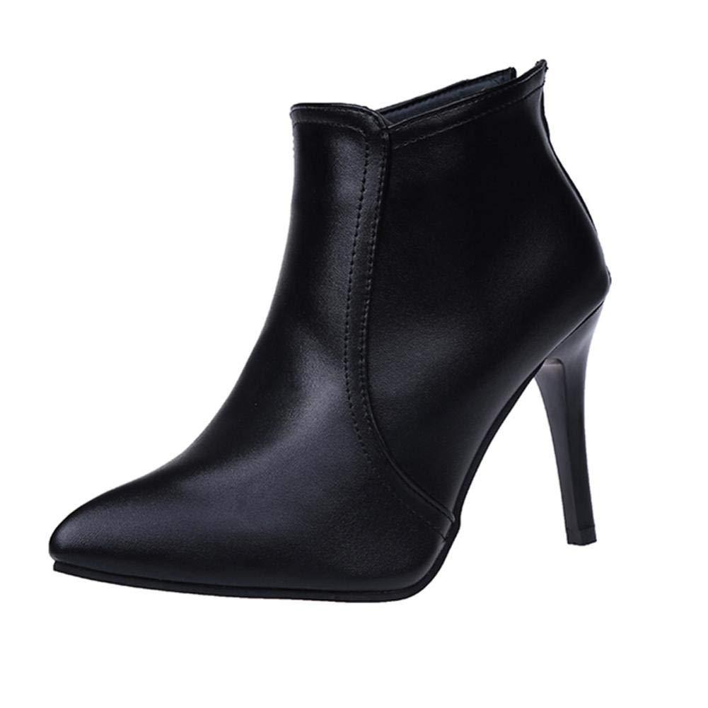 Botas Cortas para Mujer, Las Mujeres Ponited Toe Zapatos de Color Puro Cremallera Tacones Zapatos Casuales Martin Botas