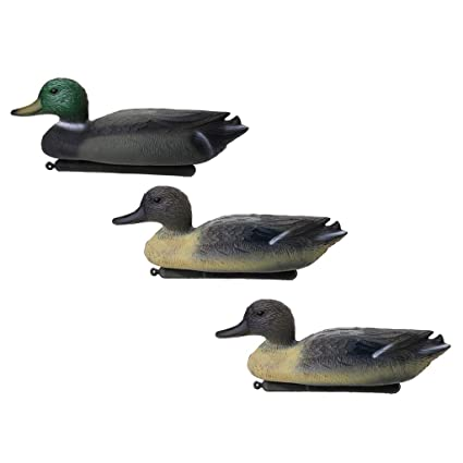 Baosity 3 Pieces Floating Duck Decoy Drake Hunting Bait Lawn Ornaments  Garden Decors