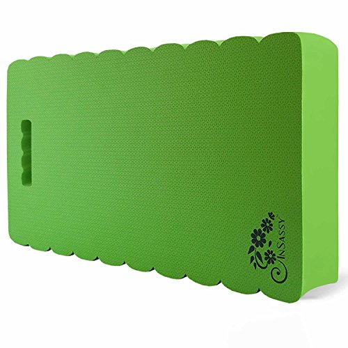 InSassy Thick Garden Kneeling Pad Kneeler Mat for Gardening, Baby Bath, Yoga, Prayers & Exercise - Largest (XXL) 22x11 & THICKEST 1-½, Green