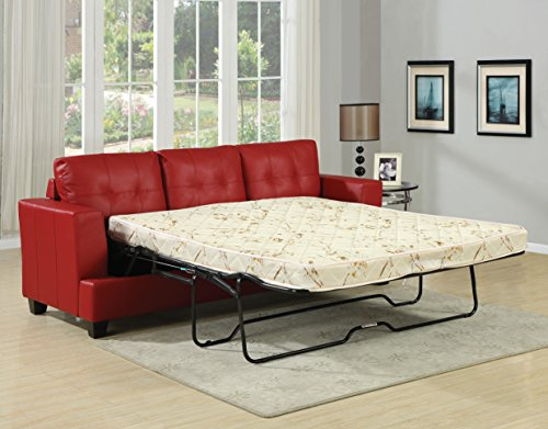 ACME AC-15063 Sofa w/Queen Sleeper, Red Bonded Leather