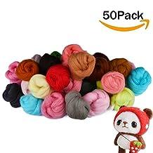 MAARYEE 50 Colors Needle Felting Wool Roving Fibre Wool Yarn for Needle Felting Hand Spinning DIY Craft Materials