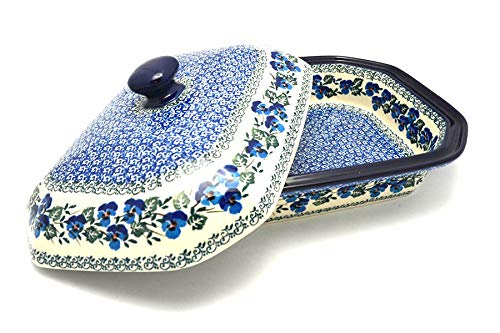 Polish Pottery Baker - Rectangular Covered - Large - Winter Viola