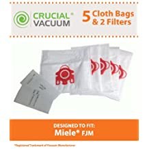 Crucial Vacuum 5 FJM Deluxe HEPA Style Allergen Bags Plus 2 Filters for Miele Cleaners S200 S300 S700 S4000 S6000 #780510000010