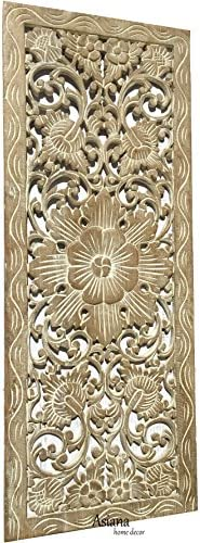 Asiana Home Decor Bali Tropical Floral Leaf Carved Wood Wall Panel. Size 35.5″x13.5″ White Wash