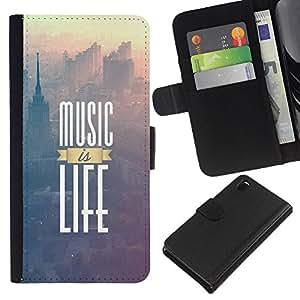 Protector de cuero de la PU de la cubierta del estilo de la carpeta del tirón BY RAYDREAMMM - Sony Xperia Z3 D6603 - La música es vida impresiones