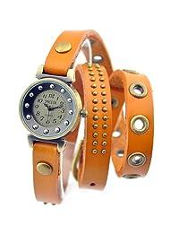 Retro Watch Punk Wrap Around Genuine Leather Bracelet Women's Wrist Watch Rivet Brown Strap