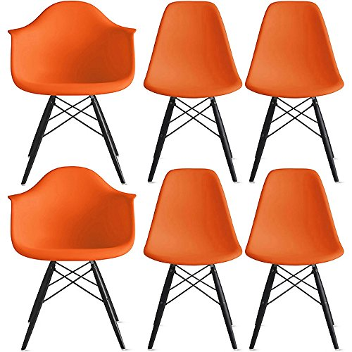 2xhome Set of Six 6 – Orange – Hardwood Solid Wood Black Wood – Dining Arm Chair – Dining Side Chair Arm Chair Ray Chair Molded Plastic Shell