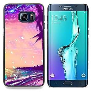 For Samsung Galaxy S6 Edge Plus / S6 Edge+ G928 Case , Glitter Purple Palms Miami Tropics - Diseño Patrón Teléfono Caso Cubierta Case Bumper Duro Protección Case Cover Funda