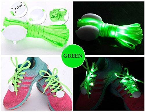 AcTopp LED Shoelaces High Visibility Soft Nylon Light Up Shoelace with 4 Modes Rainbow Colors for Night Running, Biking, Disco, Party, Cosplay, Hip-hop Dance Safety and Cool (Green(white light))